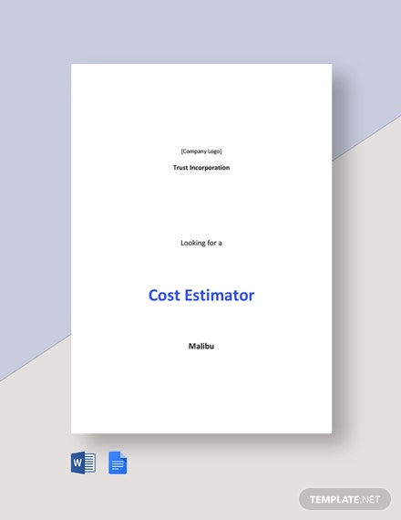 Cost Estimator Job Description Template