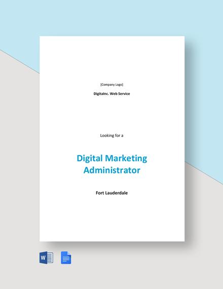 Digital Marketing Administrator Job Description Template