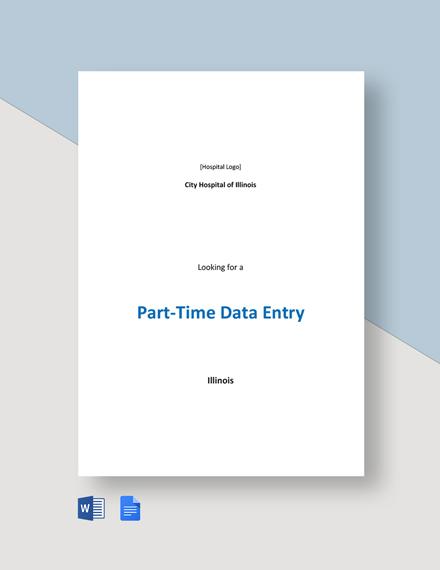 Part Time Data Entry Job Description Template