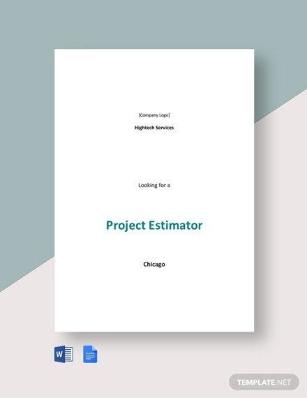 Project Estimator Job Description Template