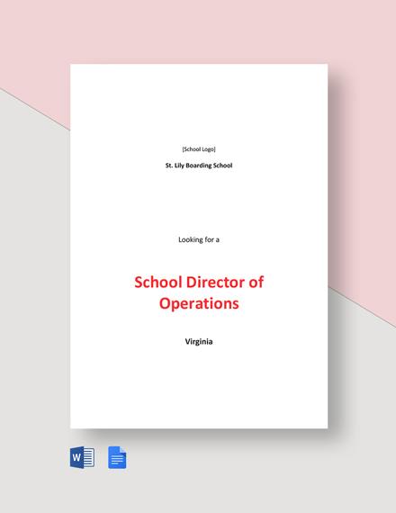 School Director of Operations Job Description Template