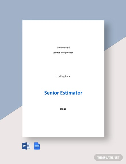 Senior Estimator Job Description Template