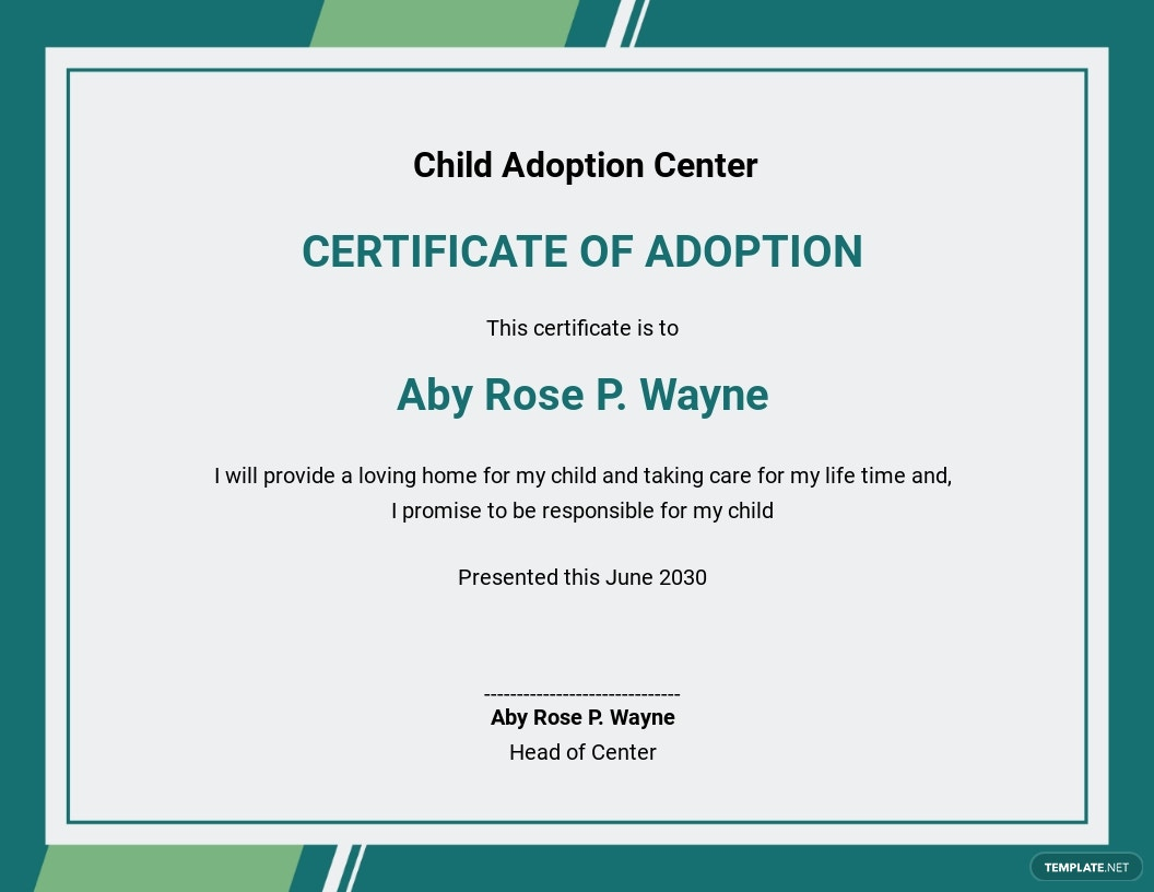 Adoption Certificate for Kids Template