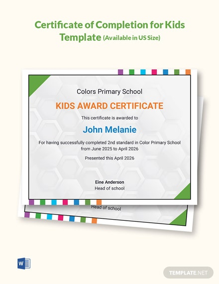 Certificate of Completion for Kids Template
