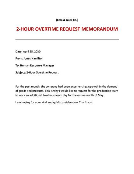 Overtime Request Memo