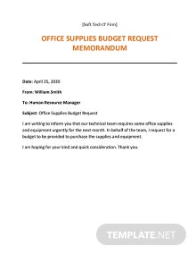 Office Supplies Request Memo