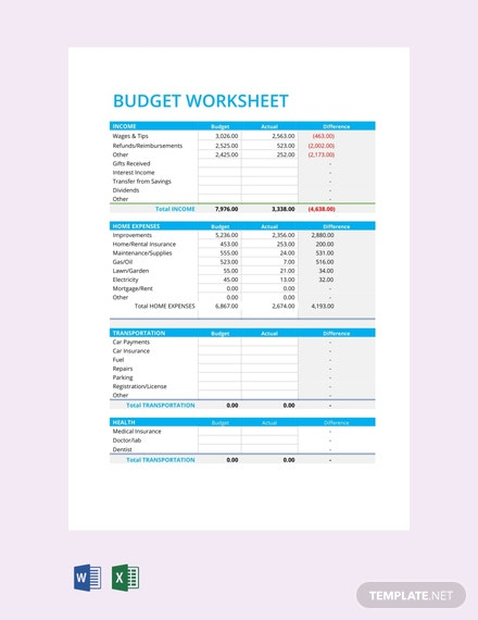 free budget worksheet template  download 194  sheets in