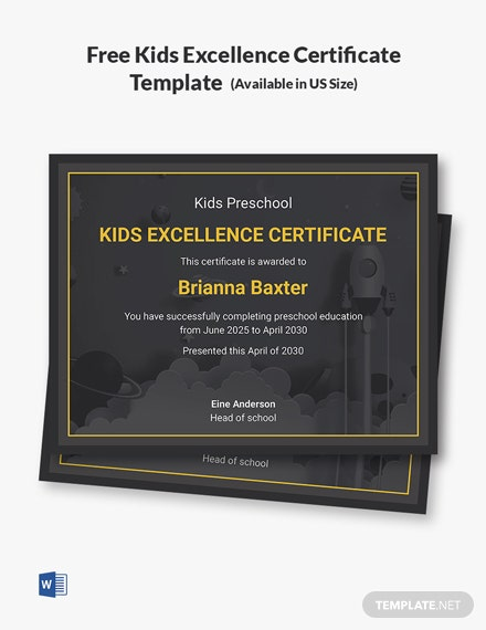 Free Kids Excellence Certificate Template
