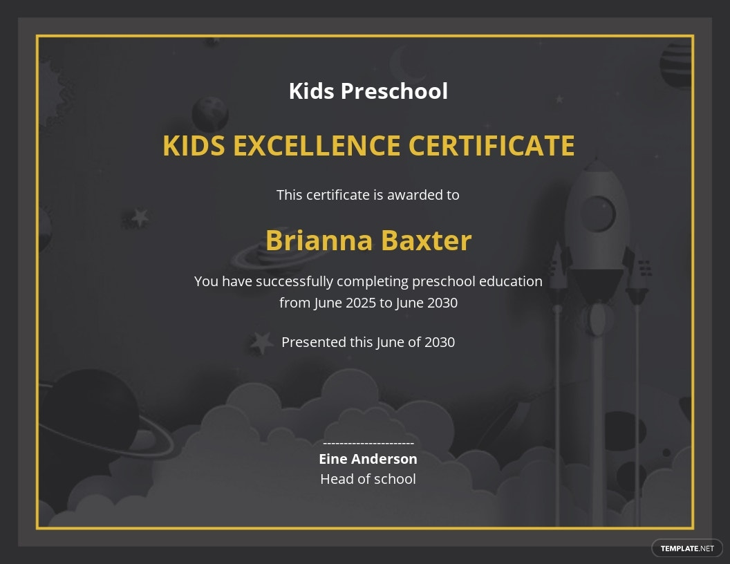 Free Kids Excellence Certificate Template.jpe