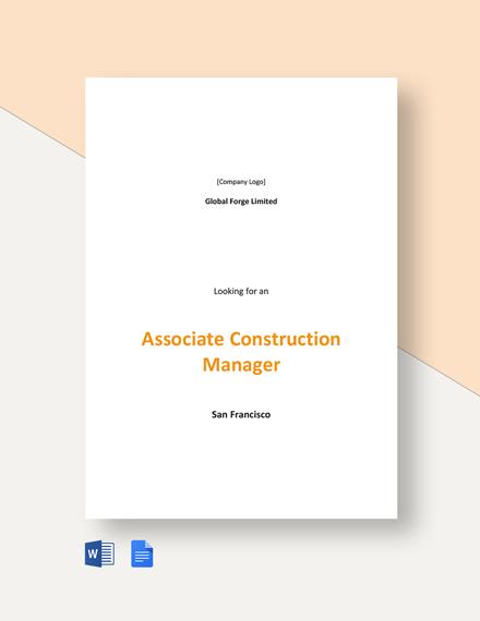 Associate Construction Manager Job Description Template