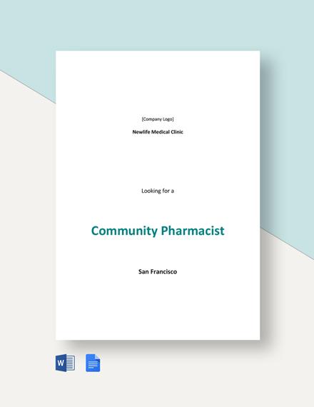 Community Pharmacist Job Description Template