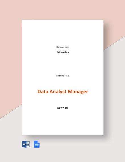 Data Analyst Manager Job Description Template
