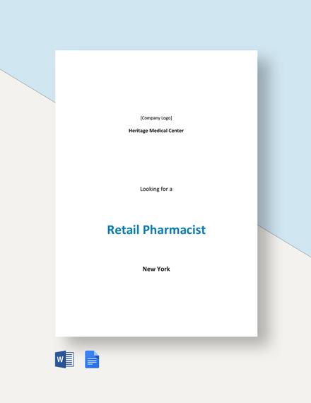Retail Pharmacist Job Description Template
