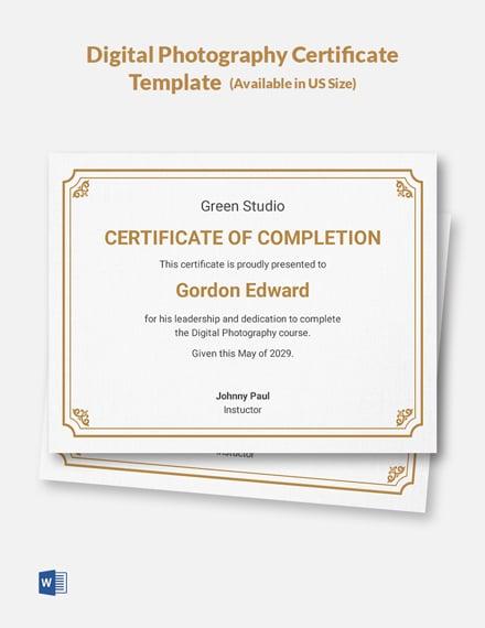 certificate template digital pro word doc