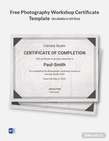 Free Photography Workshop Certificate Template