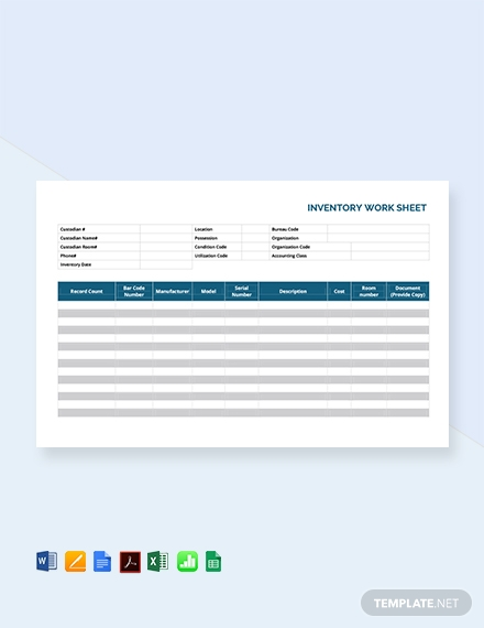 Free Inventory Worksheet Template