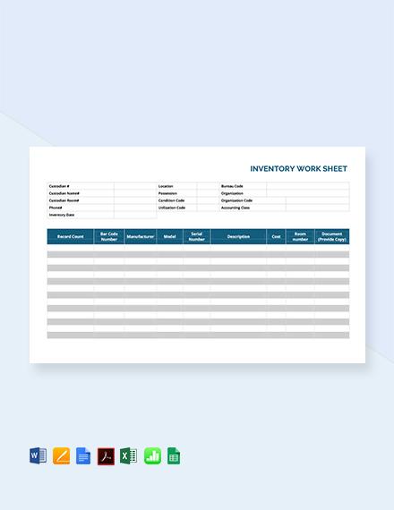 Free Inventory Worksheet Template