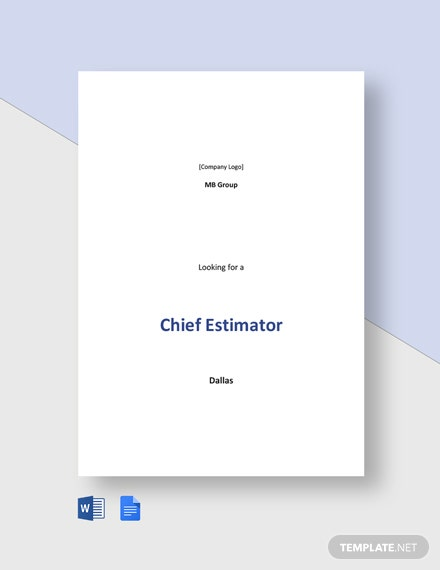 Chief Estimator Job Description Template
