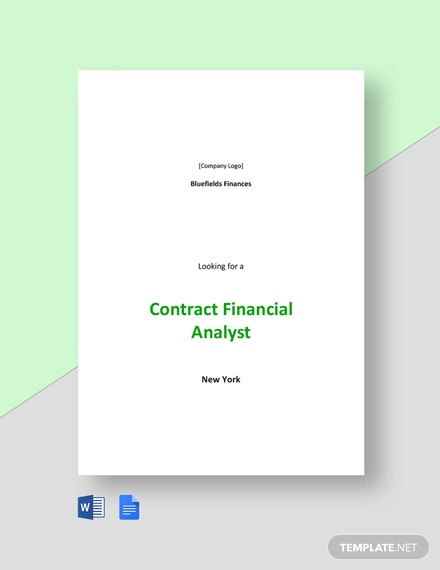 Contract Financial Analyst Job Description Template