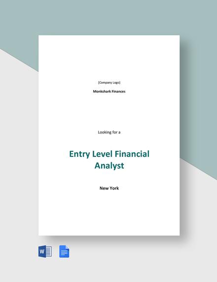 Entry Level Financial Analyst Job Description Template