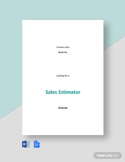Sales Estimator Job Description Template
