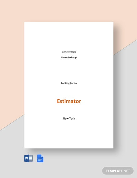 Sample Estimator Job Description Template