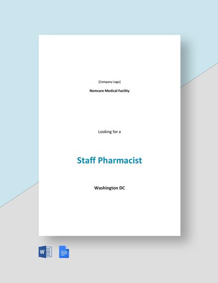 Staff Pharmacist Job Description Template