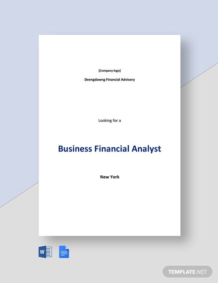 Business Financial Analyst Job Description Template