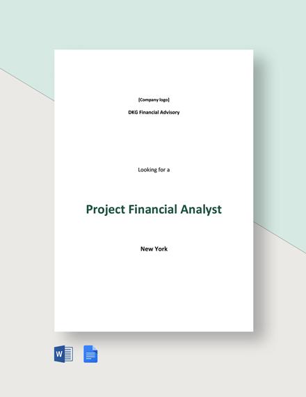 Project Financial Analyst Job Description Template