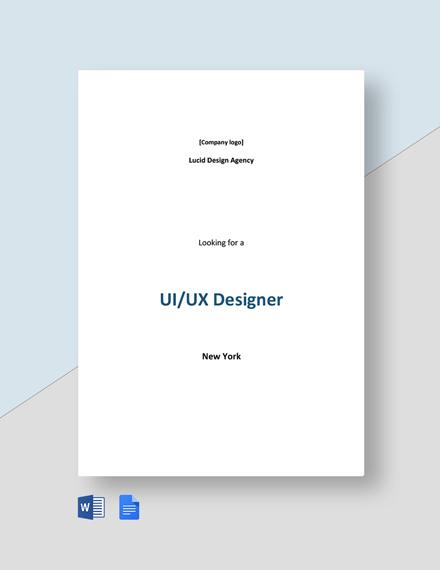 Sample UI/UX Designer Job Description Template