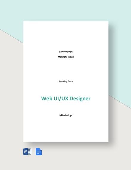 Web UI/UX Designer Job Description Template