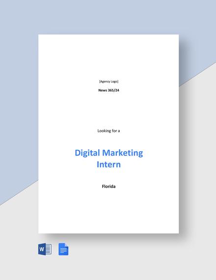 Digital Marketing Intern Job Description Template