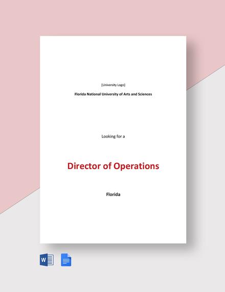 Sample Director of Operations Job Description Template
