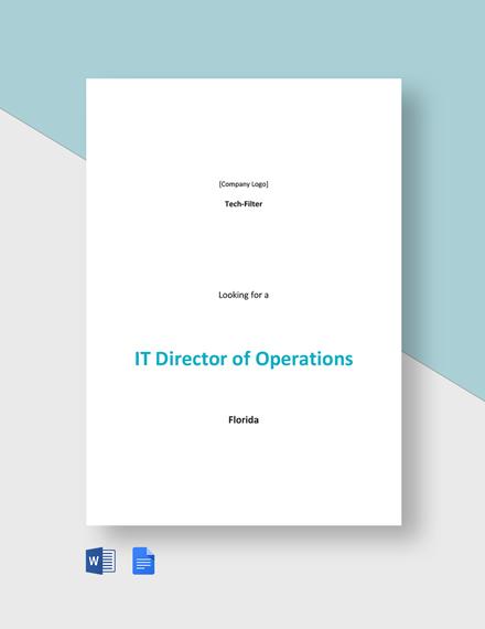 IT Director of Operations Job Description Template