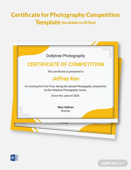 Certificate for Photography Competition Template