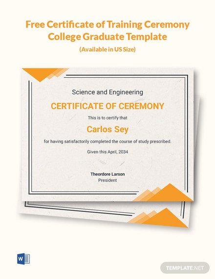 Free Certificate of Training Ceremony College Graduate Template