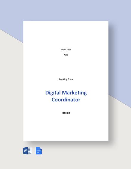 Digital Marketing Coordinator Job Description Template