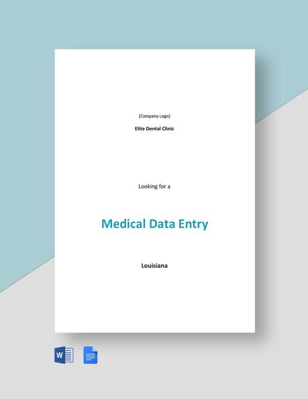 Medical Data Entry Job Description Template