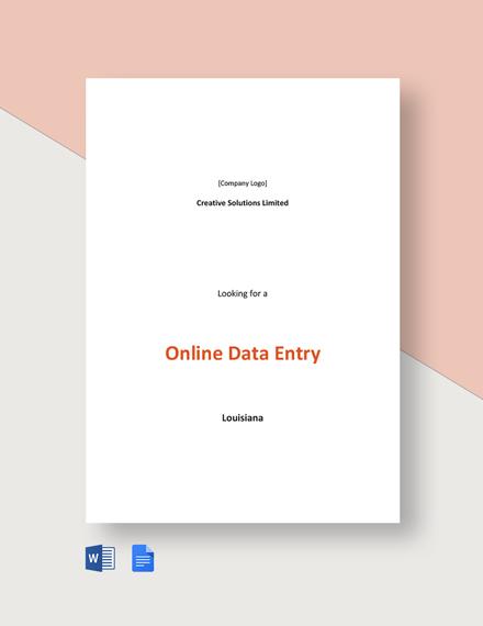 Online Data Entry Job Description Template