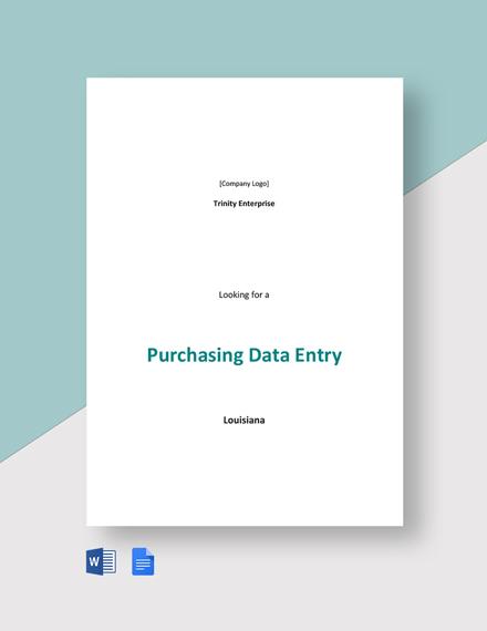 Purchasing Data Entry Job Description Template