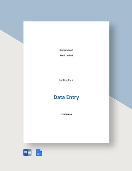 Sample Data Entry Job Description Template