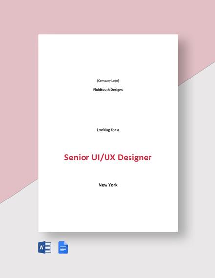 Senior UI/UX Designer Job Description Template