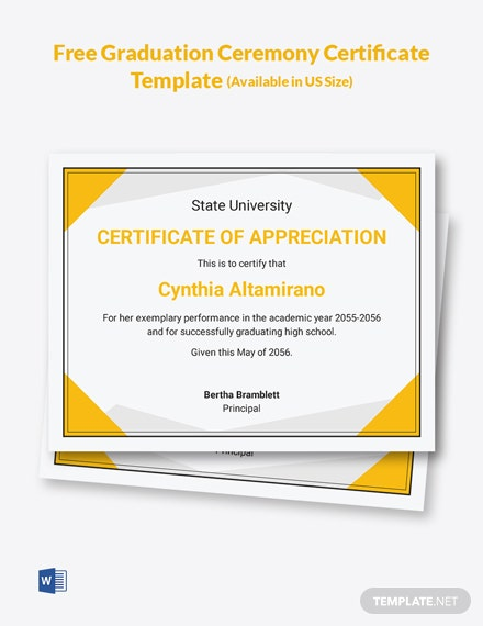 Free Graduation Ceremony Certificate Template