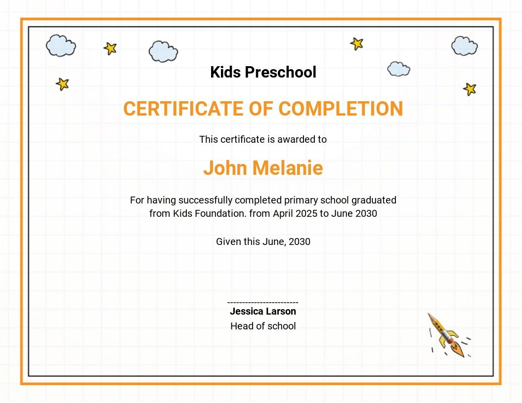 Preschool Graduation Ceremony Certificate Template
