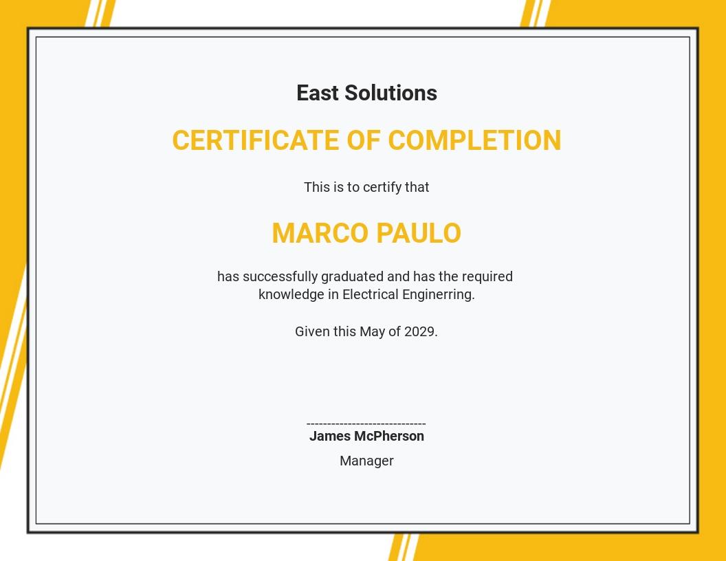 Program Graduation Certificate Template