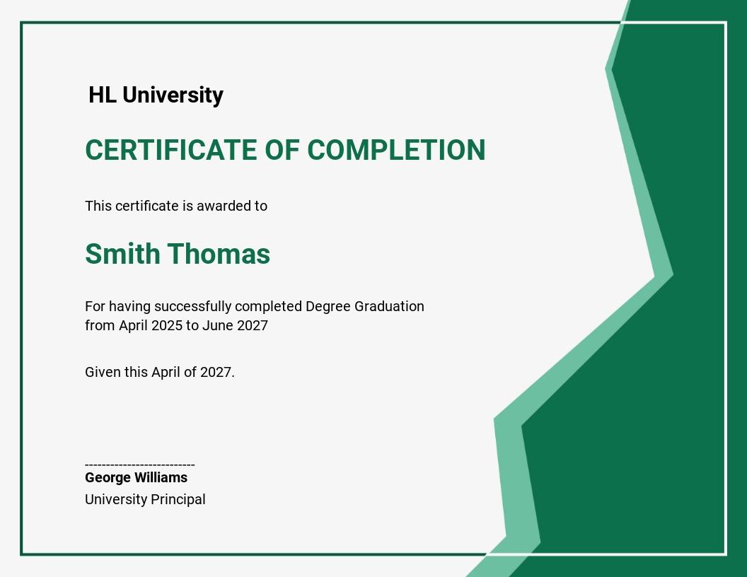 Certificate Completion & Graduation Ceremony Template