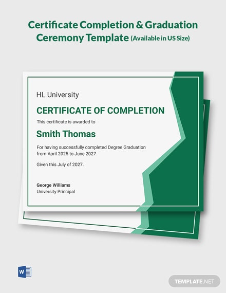 Certificate Completion & Graduation Ceremony Template