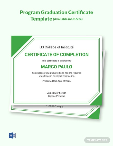 Certificate of Training Ceremony College Graduate Template