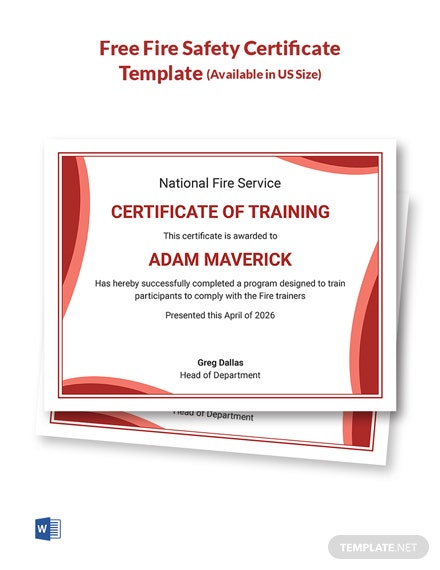 Free Fire Safety Certificate Template