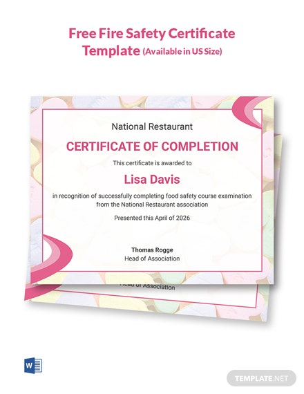 Free Food Safety Certificate Template
